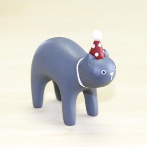 【T-Lab.】クリスマスぽれぽれ<クロネコ>◆木彫りアニマル サンタクロース 手作り インテリア 小物 置物 ギフト プレゼント 贈り物 yasac