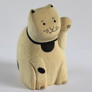 【T-Lab.】ENGIMON まねきねこ◆カードスタンド ティーラボ 木製 木彫りアニマル 小物 置物 ハンドメイド かわいい ナチュラル 猫 招き猫 まねき猫 祝い 縁起物 yasac