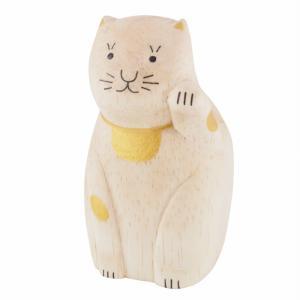 【T-Lab.】ENGIMON まねきねこ<ゴールド>◆カードスタンド ティーラボ 木製 木彫りアニマル 小物 置物 ハンドメイド かわいい ナチュラル 猫 まねき猫 縁起物 yasac