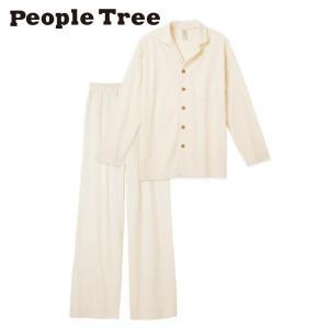 送料無料 People Tree オーガニックコットン 男女兼用パジャマ<生成り>◆ピープルツリー XS/S/M/L 綿100% ユニセックス メンズ レディース 上下セット 長袖|yasac