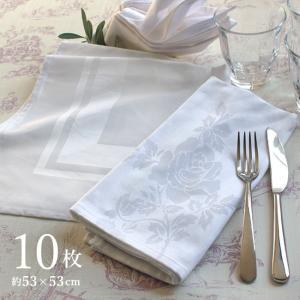 トーション ナフキン 10枚セット スクエア・バラ柄 ホワイト ワイン トーション テーブル ナプキン 白ナフキン 業務用 ホテル レストラン 綿100%|yasashii-kurashi