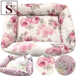 ペットベッド Sサイズ 約40×30×10cm 小型犬やネコちゃんにぴったり  バラ柄 ローズ 花柄 アンティーク|yasashii-kurashi