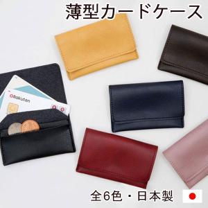 薄型カードケース スキミング防止カード付き 小銭入れ コインケース アクセサリーポーチ 日本製  父...