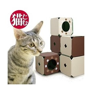 猫じむ 3ピース ( キャットタワー 据え置き型 ボックス ボックス型 おしゃれ 猫遊具 猫タワー キャットハウス 猫 運動 ネコ 遊具 ねこタワー 猫ジム )|yasashisa