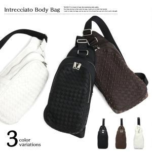 ボディバッグ ショルダーバッグ  ( ボディーバッグ ワンショルダーバッグ メンズ 合皮 黒 白 イントレチャート 編み込み 旅行 通勤 鞄 カバン バッグ 523 )|yasashisa
