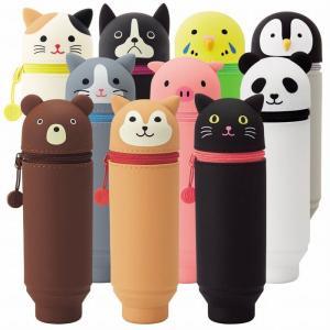 リヒト スタンドペンケース A−7712 やわらかいシリコン素材の動物シリーズ|yasudaclub