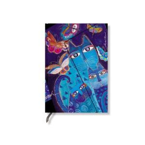Paperblanks ペーパーブランクス  ローレル・パーチコレクション 幸せを運ぶ猫たち ノートブック(ミディ) 水面に映る猫と蝶々 PB3978|yasudaclub