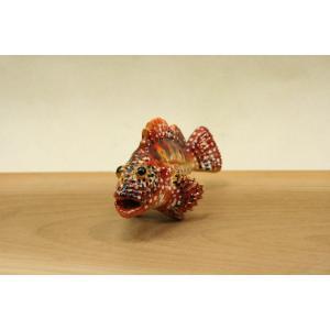 カサゴ(深海型・赤)・陶芸作品 置物mini(陶 さかな フィギュア)