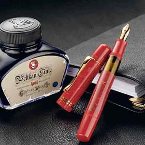 ペリカン 万年筆 Pelikan 特別生産品 M101N ブライトレッド ボトルインク付 ギフト|yasukaunet