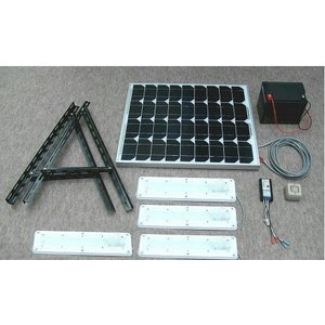 ソーラーLED照明キット45W:LED-4個・ベランダ太陽光発電・家庭用蓄電池(手動点灯式)|yasukawa