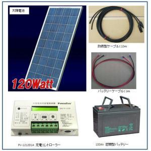 ソーラー発電-120W・バッテリー充電セット・家庭用蓄電池キット(バッテリー付) yasukawa