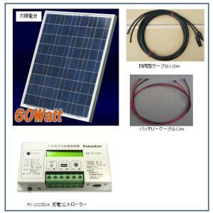 ソーラー発電-60W・バッテリー充電セット・架台付き・ベランダ太陽光発電(バッテリーなし) yasukawa