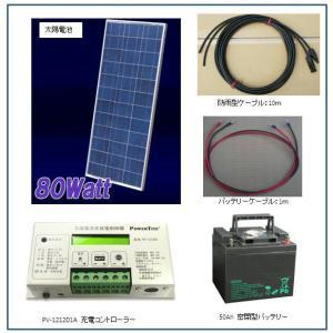ソーラー発電-80W・バッテリー充電セット・家庭用蓄電池キット(バッテリー付) yasukawa