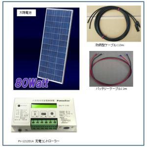 ソーラー発電-80W・バッテリー充電セット・ベランダ太陽光発電(バッテリーなし) yasukawa