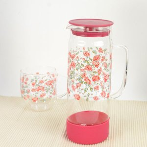 耐熱ガラス ティーポット 1100ml おしゃれ 猫柄と花柄 薔薇雑貨 選べる4種