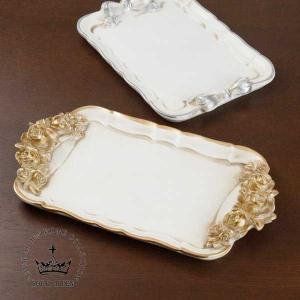 アンティーク調 雑貨 小物入れ トレー ゴールドローズ シルバーリボンの2色 サイズ:W/ローズ25...