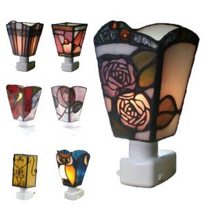 ステンドグラス ランプ 薔薇 フットライト 寝室 足元灯 コンセント 10W×1 E12