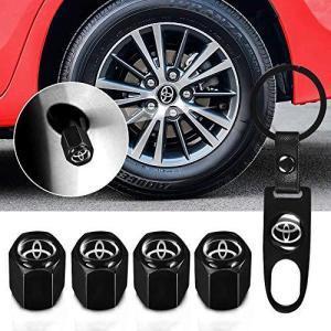 Qingtech for Toyota バルブキャップ 車 トヨタ エアー バルブ キャップ 車用メタル 腐食 防止 黒 4個組|yasyabou