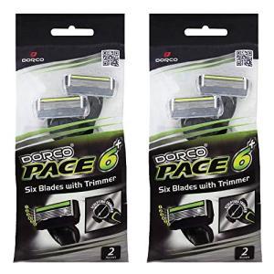 ドルコ Pace6 Plus 枚刃カミソリ トリマー付き:Dorco メンズT字シェーバー4本入り、...