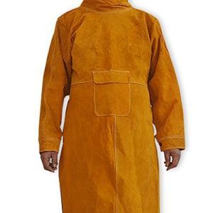 NUZAMAS 大判タイプ 牛革 溶接用 エプロン 防炎 溶接 防護服 やけど 対策 耐熱 ツールポケット 102cm|yasyabou