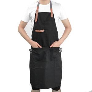 エプロン メンズ デニム シワになりにくい フリーサイズ 男性 大きいサイズ 作業用 (ブラック) (タイプ|yasyabou