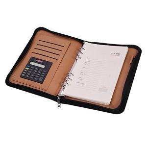 システム手帳 a5/a6メモ帳 ルーズリーフ バインダーノート 6穴 電卓搭載 ペンホルダー 名刺・カード入れケース|yasyabou