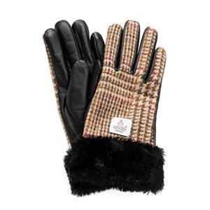 ハリスツイード 手袋 レディース スマホ対応 ラムレザー 内側ボア仕様