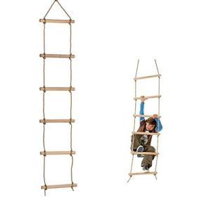 Ysdeal 縄ばしご 屋外 室内 子供の家庭用遊具 はしご 梯子 ラダーロープ 木製 (6段 棒の...
