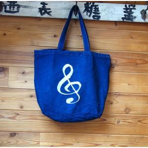 藍染 キャンバスバッグ トートバッグ 帆布バッグ 手染め 型染 ト音記号|yatsugatakestyle