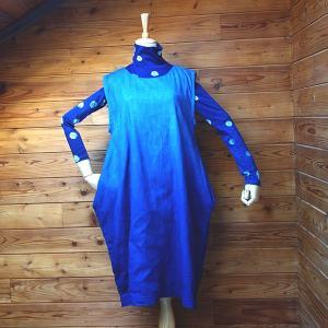 藍染め手染めのジャンバースカート|yatsugatakestyle