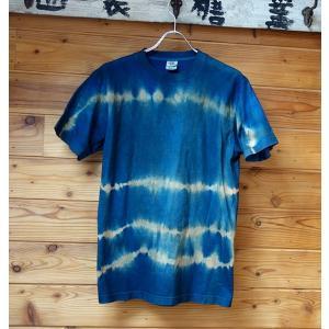 藍と柿渋染め横縞Tシャツ|yatsugatakestyle
