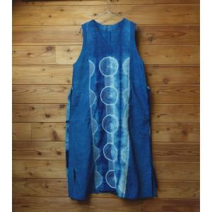 藍染め丸い刺し子手染めのジャンバースカート|yatsugatakestyle