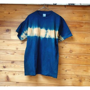 藍と柿渋染横絞りTシャツ/Mサイズ|yatsugatakestyle