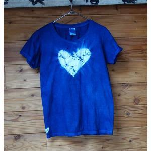 藍染ハートの絞り レディースTシャツ  前も後ろもハートの手絞り yatsugatakestyle