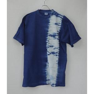 藍染Tシャツ二本絞り 手染め タイダイ メンズ レディース yatsugatakestyle