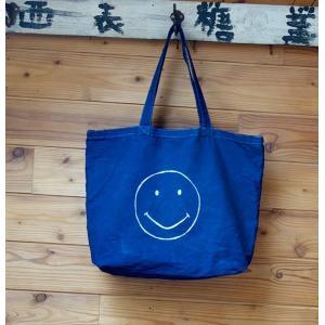 藍染 キャンバスバッグ・手染め 型染 スマイルマーク・にこちゃんマーク他 トートバッグ 男女共用 |yatsugatakestyle