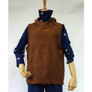 柿渋染のレディースベスト、着物襟、前ポケット付き yatsugatakestyle