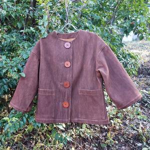 大きなボタンの柿渋染めレディース 柔道着 刺し子のジャケット yatsugatakestyle