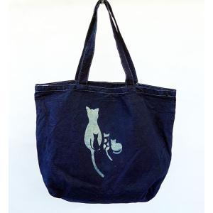 藍染 手染めキャンバス帆布バッグ 親子猫 ML|yatsugatakestyle