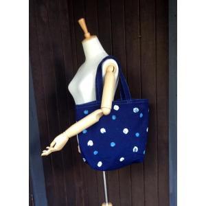 藍染 手染めの2色に染め分けた水玉キャンバスバッグ トートバッグ 男女共用|yatsugatakestyle