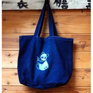 藍染キャンバスバッグ パンダ ML|yatsugatakestyle
