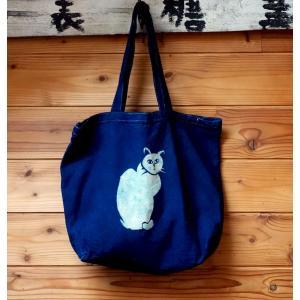 藍染キャンバスバッグ 縦猫 ML|yatsugatakestyle