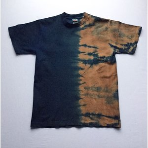 藍染と柿渋の半分手絞りTシャツ|yatsugatakestyle