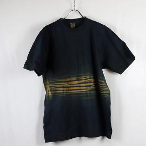藍染と柿渋染めの真ん中波模様絞り厚地Tシャツ XL|yatsugatakestyle