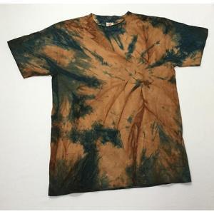 藍と柿渋染めの少しうずまきTシャツ|yatsugatakestyle