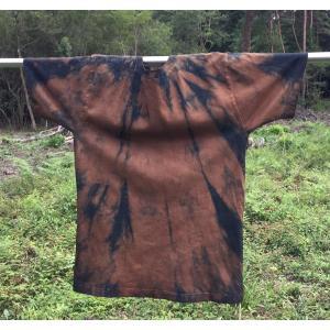 藍と柿渋染め縦じま模様TシャツLサイズ|yatsugatakestyle