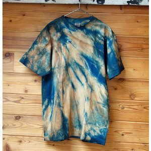 藍と柿渋染めうずまき模様TシャツMサイズ|yatsugatakestyle
