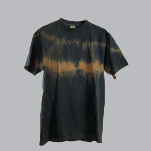 藍と柿渋染めの横段絞りTシャツ|yatsugatakestyle