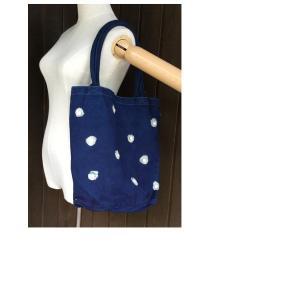 藍染 手染め  帆布 キャンバス トートバッグ 水玉 ドット柄ボタン付き|yatsugatakestyle