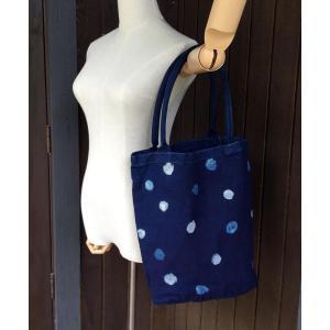 藍染丸型キャンバスバッグ2色の水玉|yatsugatakestyle